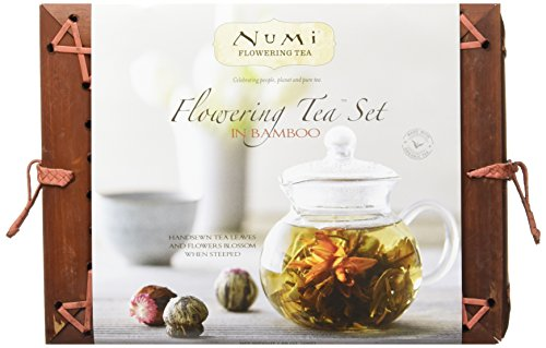 Numi Organic Tea Flowering Gift Set in Handcrafted Mahogany Bamboo Chest: Glass Teapot & 6 Flowering Tea Blossoms (Organic Herbal Tea Gift Baskets)