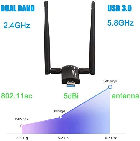 DP-iot HOT-Wireless USB WiFi Adapter 1200Mbps Dual Band 2.4Ghz//300Mbps 5Ghz//867Mbps Dual 5Dbi Antennas Network WiFi USB 3.0 for Desk