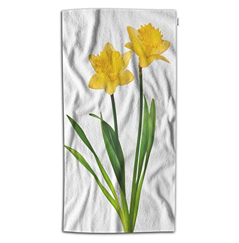 (Moslion Daffodil Bath Towel Nature Botanical Narcissus Flower Blossom with Leaf in Spring Towel Soft Microfiber Baby Hand Beach Towel for Kids Bathroom 32x64 Inch Yellow Green)