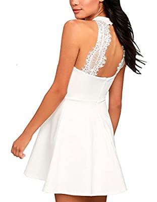 Lyrur Halter Neck Women's Wedding Party A-Line Backless Short Swing Lace Skater Dress
