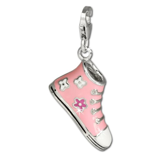 SilberDream Charm pink enameled shoe Sneaker 925 Sterling Silver Pendant Lobster Clasp ()