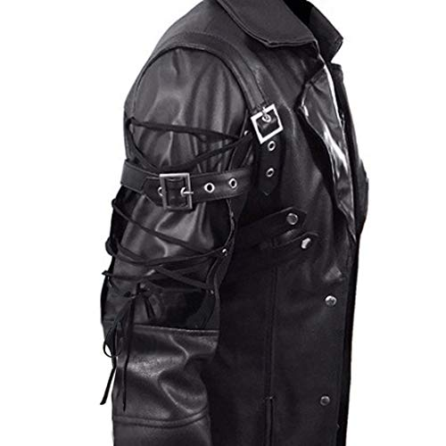 JJHAEVDY Mens Leather Trench Coat Steampunk Gothic Jacket Goth Outwear Victorian Long Jacket Costume Red Black M-5XL