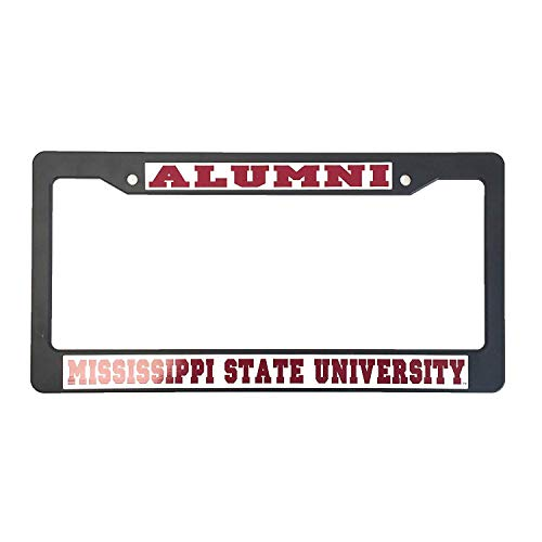 B.Fighting Mississippi State University Alumni Black Plastic License Plate Frame for Front Back of Car ()