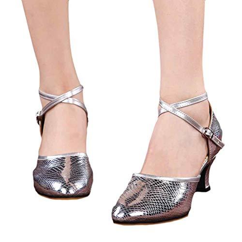 Fond Enfiler À Danse Des Femmes Argent Latine De Mou Chaussures Pour Huicai Carrées YqFzw46