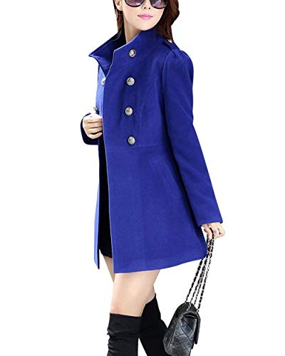 Fashion Monocromo Coreana Cappotto Cappotti Di Breasted Eleganti Coat Lunga Double Hx Alta Lana Qualità Collo Manica Ragazza Chic Invernali Saphirblau Donna fA7dnwOWq