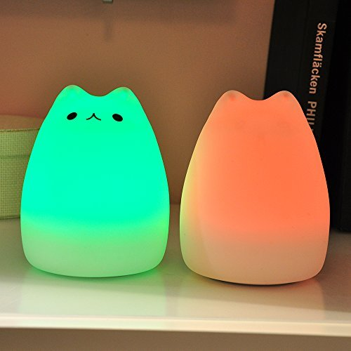 Litake LED Night Light, USB Rechargeable Silicone Cat Carton Night Lights with Warm White and 7-Color Breathing Modes for Kids, Baby, Children (Celebrity Cat)