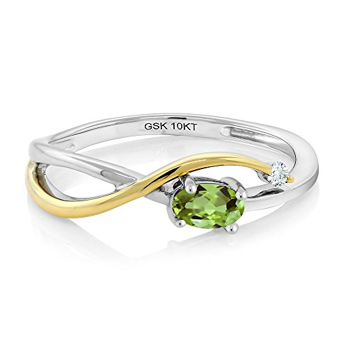 10K Two-Tone Gold Green Peridot and Diamond Engagement Ring (0.28 Ctw Available in size 5, 6, 7, 8, 9)