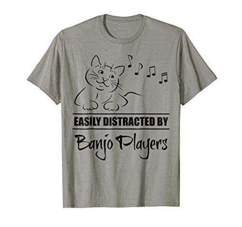 Curious Cat Easily Distracted by Banjo Players Music Notes T-Shirt
