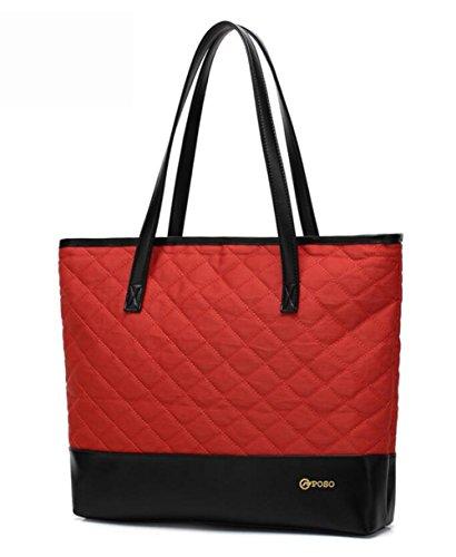 PINCHU Femmes Designer Business 14 Pouce Ordinateur Portable Sac Fourre-Tout Léger Bureau Lady Élégant Porte-Cartable Satchel Top-Handle Red