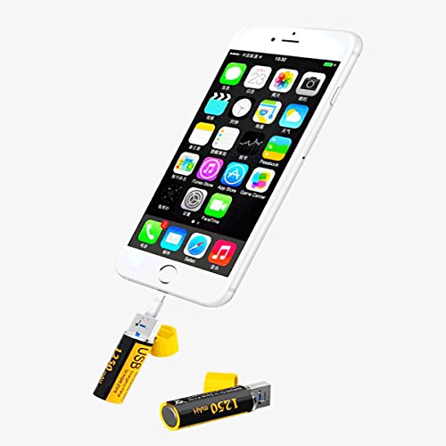 USB rechargeable aa batteries charger Multi - functional emergency power bank 1250mAh 1.5V (2 Pack)