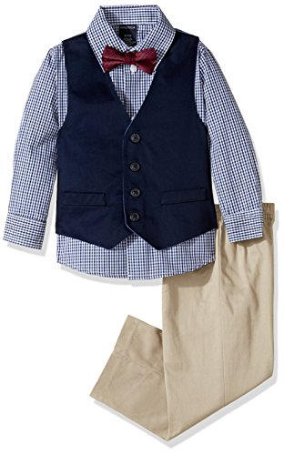 (Nautica Boys' 4-Piece Vest Set with Dress Shirt, Bow Tie, Vest, and Pants, Khaki, 2T)