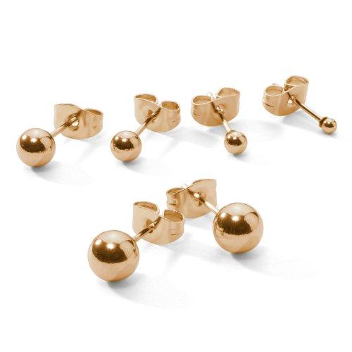 6mm Ball Titanium Earrings (5 Pair Set Stainless Steel Flash Gold Tone Ball Bead Stud Earrings, 1 Pair Each 3, 4, 5, 6, 7mm)