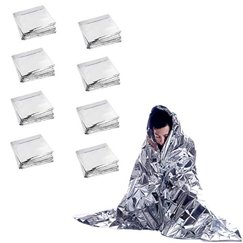 Slimerence Emergency Mylar Thermal Blankets (8 Pack) Designed for NASA, 63'' x 83'', for Outdoors, Hiking, Survival, Marathons or First Aid, 8 Pack by Slimerence