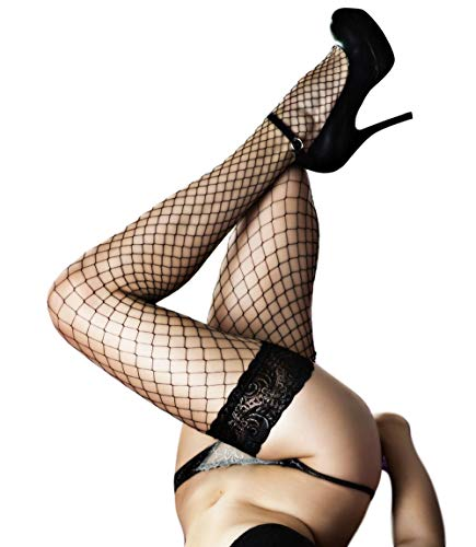 Fishnet Thigh High Stay up Stockings Lace Top Silicone Top Nylon Hosiery (Nero - Grandi, XL)