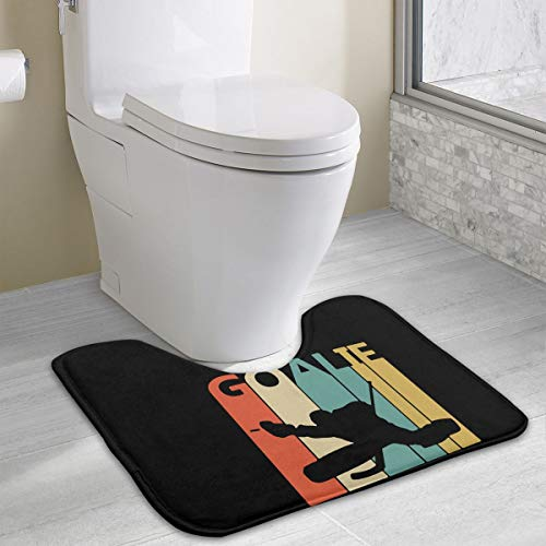 Vintage Retro Hockey Goalie Luxurious Toilet Bathroom Carpet Machine-Washable Bath Mat Perfect For Toilet,Tub, Shower, Bath Room (Goalie Trapper)