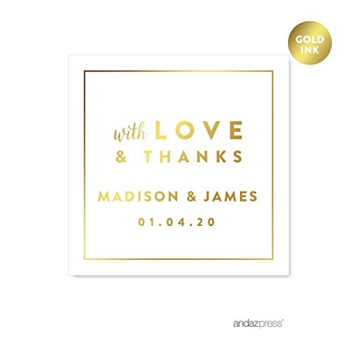 Andaz Press Personalized Square Wedding Favor Gift Labels Stickers, Metallic Gold Ink, with Love and Thanks, 40-Pack, Custom Made Any Name