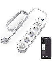 Intelligent stekkerdoos wifi-stopcontact, 4 stopcontacten, 3 USB, spraakbediening, app-besturing en timerfunctie, compatibel met Alexa, Google Home en IFTTT