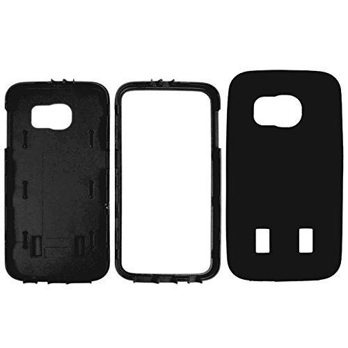 Fashion & personality Para el protector de la pantalla de la textura del neumático de la galaxia S6 de Samsung + caja a prueba de choques del silicón + del plástico Shell ( Color : Dark Blue ) Black