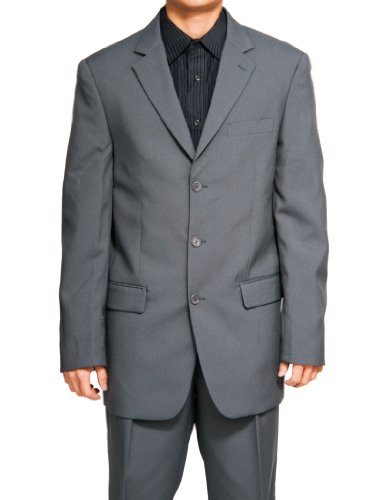 New Men's 3 Button Single Breasted Gray (Grey) Dress Suit (Fancy Dress Outlet)
