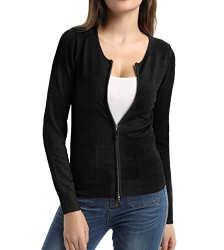 Women Knit Zipper Sweater Casual for Women Cardigan Black Size - Cardigan Front Zipper