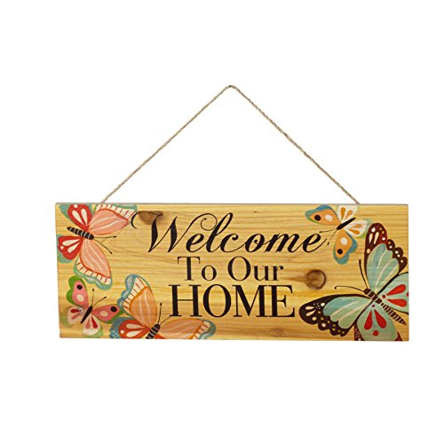 Welcome to Our Home Butterflies 16 x 6 Inch Wood Decorative Hanging Wall Plaque (Home Our Welcome Decor To)