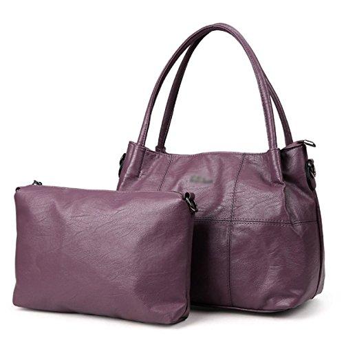 La Mujer Nuevo Bolso Compuesto Juego De Dos Piezas Europa Y Estados Unidos Es Todo-fósforo PU bolso De Hombro Inclinado Solo Hombro Purple