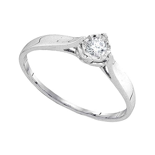 Size 10.5-10k White Gold Round Diamond Solitaire Promise Bridal Ring 1/12 Cttw