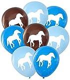 Nerdy Words Horse Latex Balloons, 16 pcs (Blues & Dark Brown)