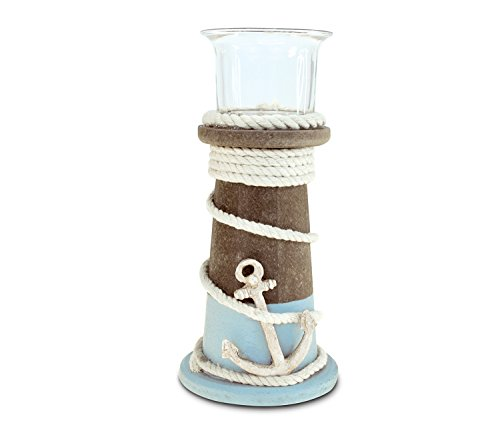 Puzzled Wooden Evian Lighthouse Candle Holder, Intricate & Meticulous Detailing Wood Art Handcrafted Decorative Tabletop Centerpiece Accent Accessory Coastal Nautical Themed Home Décor - 6.75 -