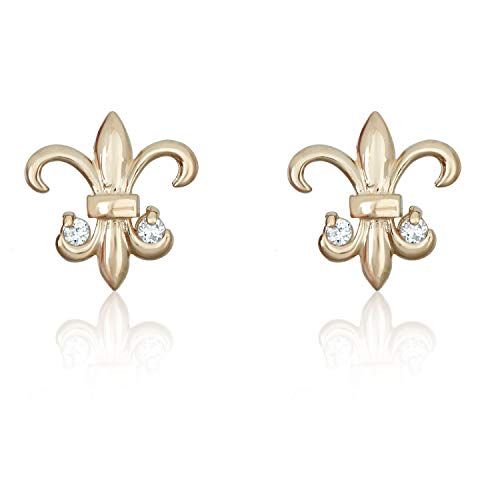 14K Yellow Gold Fleur-de-lis Simulated Diamond CZ Earrings