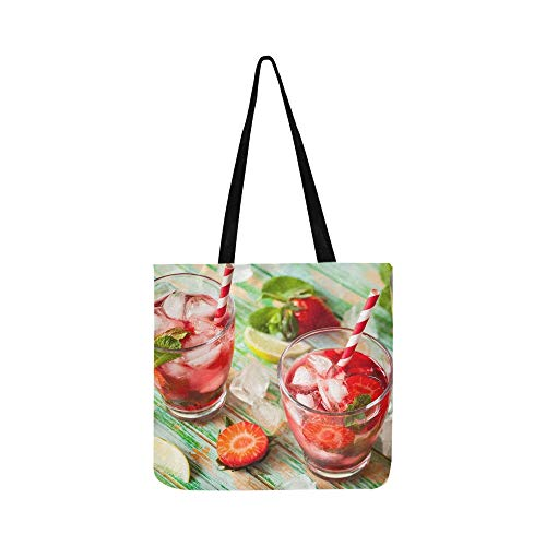 (Refreshing Summer Drink Strawberry Jug Glasses Canvas Tote Handbag Shoulder Bag Crossbody Bags Purses For Men And Women Shopping Tote)