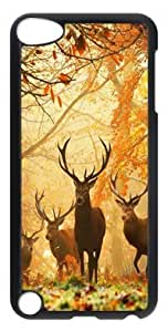 DIY Fashion Case for iPod Touch 5 Generation Black PC Case Back Cover for iPod Touch 5th with Deer