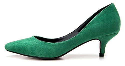 Pumput Heels Camssoo Hääjuhlissa Velveton Naisten Vihreä Kengät Luistaa Kitten Teräväkärkiset Toe wnxCrftx
