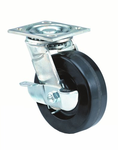 E.R. Wagner Plate Caster, Swivel with Pinch Brake, Phenolic Wheel, Roller Bearing, 500 lbs Capacity, 3'' Wheel Dia, 1-3/4'' Wheel Width, 3-7/8'' Mount Height, 4-1/8'' Plate Length, 3-1/8'' Plate Width by ER Wagner