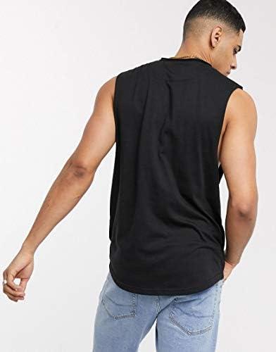 ルブレーブ タンクトップ ノースリーブ アームホール メンズ Le Breve sleeveless t-shirt in blackRRP [並行輸入品]
