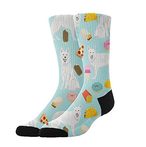 AllDECOR Novelty Cool Crazy Funny Dress Socks,White German Shepherd Cotton Crew Socks, Gifts Men & Women ()
