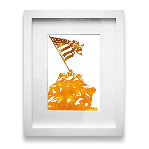 (Inspirational Home Wall Art Decor - Raising the Flag on Iwo Jima Motivational 5x7 Unframed Gold Foil Print)