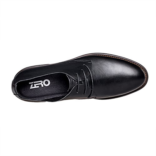 Zero Herrenschuhe - Leder klassisch einfach Schnürsenkel Schnürhalbschuhe Freizeitschuhe Schwarz