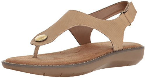 Aerosoles Women's Be Cool Flat Sandal, Tan Snake, 6.5 M US (Snake Tan)
