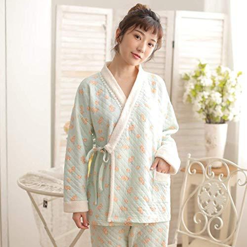 Noche Para Pijamas El Conjunto Ocasional Larga Mujer Manga Pijama Otoño V Invierno Hogar cuello Elegantes Cómodo Estampadas De Dormir Grün Ropa 6ZTwqxTBEp