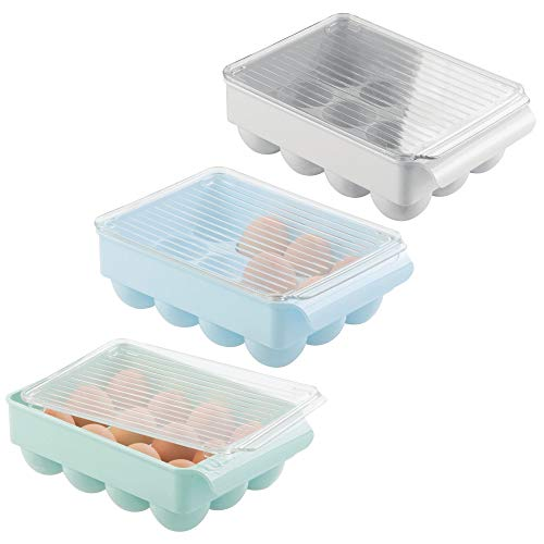 (mDesign Stackable Egg Holder Set for Refrigerator, Kitchen - Set of 3, Light Gray/Mint Green/Robin Egg)