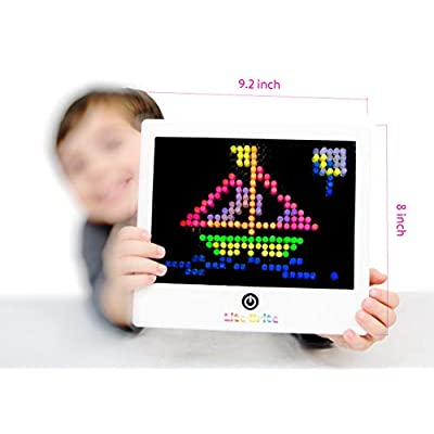 LITE Brite Magic Screen Toy Fun Retro Game | Premium Pack | 200+ Glow Pegs Brilliant Colors | Bigger Brighter Screen | Age 4 +| 6 Templates | 1 Art Guide | Bundle iPanda House Tag/Card: Toys & Games