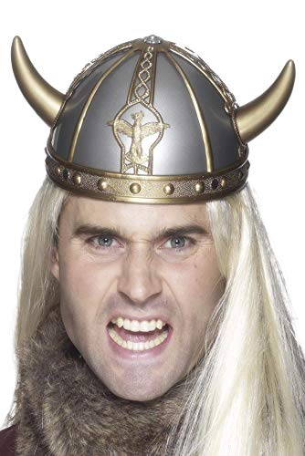 Smiffys Men's Viking Helmet Pvc with Horns, Silver/Gold, One Size -