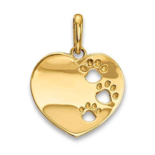 14k Yellow Gold Childrens Heart Pawprints Pendant Charm Necklace Love Kid Fine Jewelry For Women Gift Set (Charm Cat Gold Yellow)