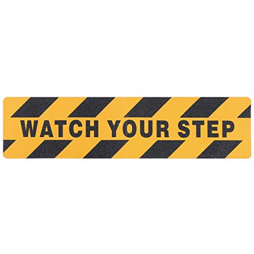 - 4 Pcs Watch Your Step Warning Sticker Adhesive Anti Slip Abrasive Tapes Wet Floor Caution for Workplace Safety 6