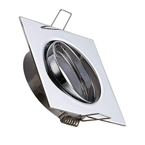 Aro Downlight Cuadrado Basculante para Bombilla LED GU10 / GU5.3 Cromado efectoLED: Amazon.es: Iluminación