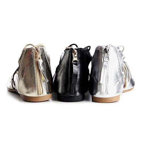 topschuhe24 791 Damen Schnür Sandalen Sandaletten Gladiator Silber
