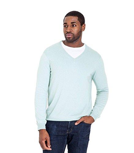 WoolOvers Pullover mit V-Ausschnitt aus Baumwolle-Kaschmirwolle für Herren Pale Blue, M