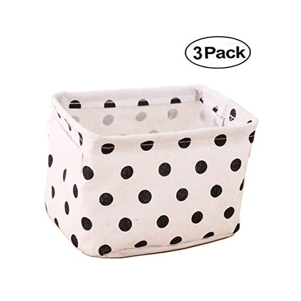 AARainbow 3 Packs Storage Basket Bins Canvas Mini Storage Cubes Storage Basket for Makeup, Baby Toys Liners, Books Nursery Storage Baskets with Handles for Shelves & Desks(3 Dot)