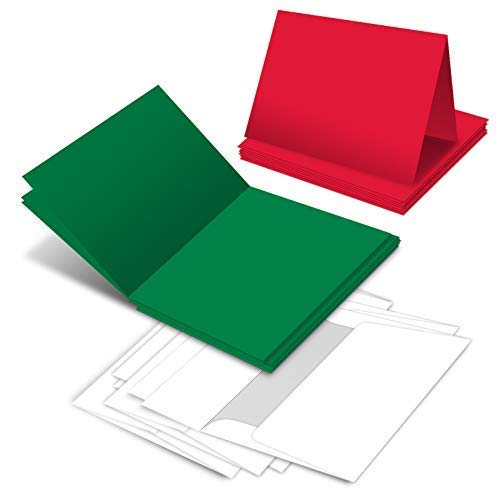 Holiday Christmas Greeting Cards - 25 Red & 25 Green Blank Greeting Cards with 50 White Envelopes - Card Size 5x7 When Folded - Envelopes Size A7 . Blank Christmas Holiday Invitations